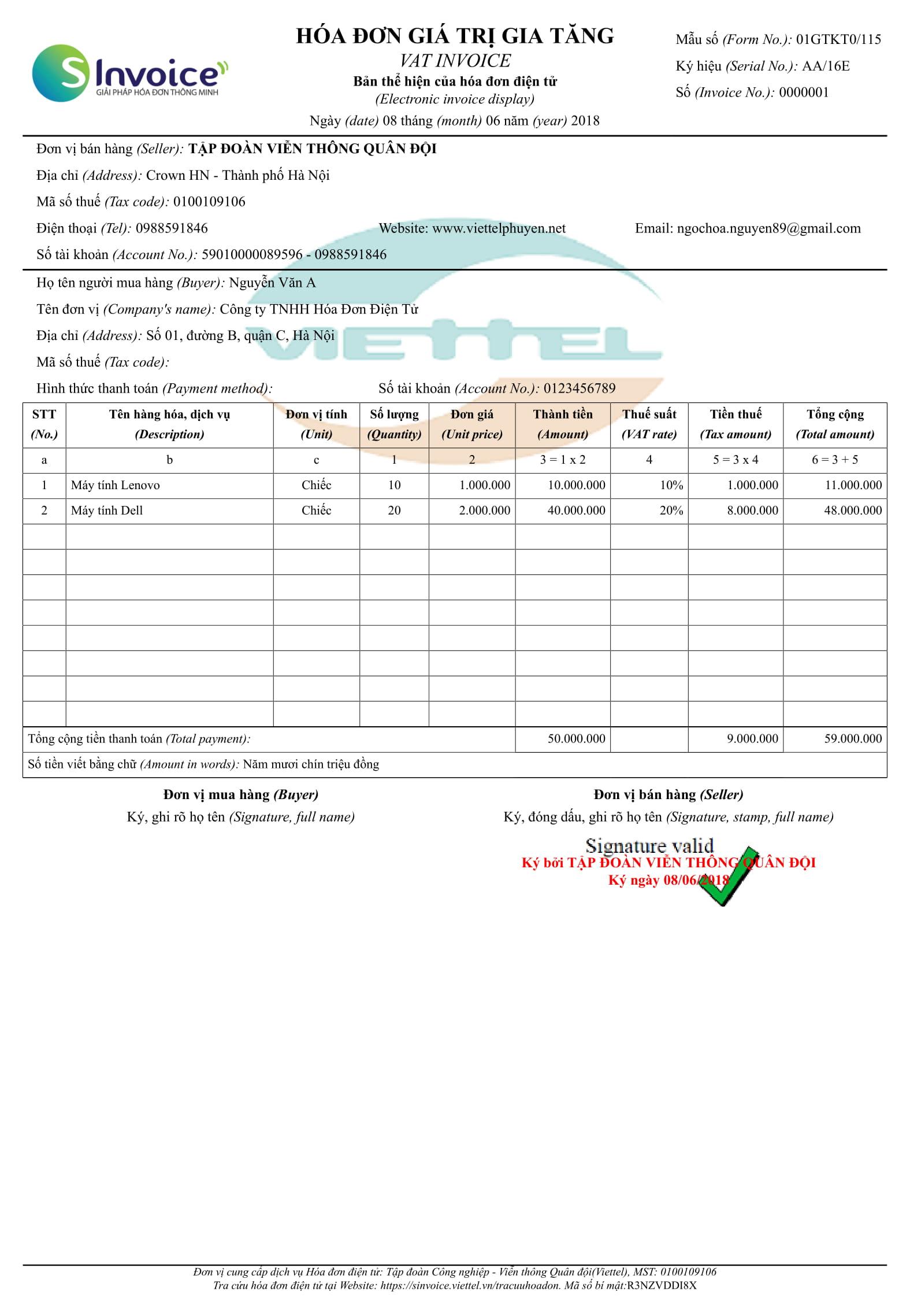 mẫu hóa đơn điện tử viettel
