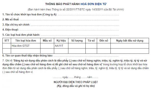 Mẫu số 02: Mẫu thông báo phát hành hóa đơn điện tử (phụ lục ban hành kèm theo Thông tư 32/2011/TT-BTC)